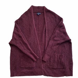American Eagle Maroon Red Slouchy Cardigan Sweater
